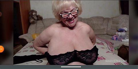 Blond bombshell granny flashes big saggy tits