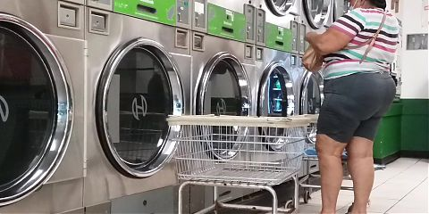 Big booty latina granny at the laundromat