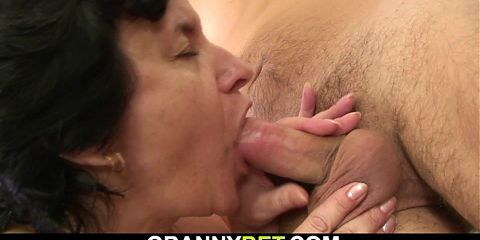 Old hairy-pussy brunette granny and boy