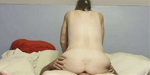 Mature cougar Marie riding while butt plugged and farting