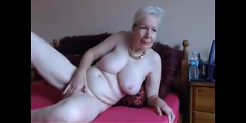 White haired grandma masturbates and records