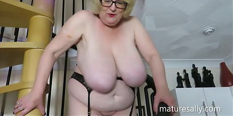 Sally strips off on the spiral staircase