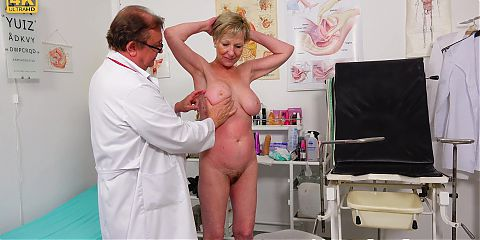 Big busty grannys old pussy exam