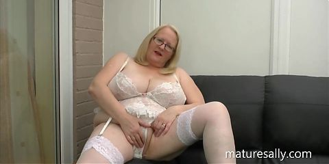 Sally in her white basque and stockings