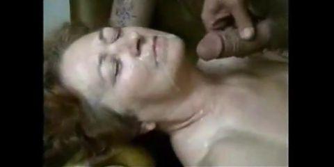 Grandma sucking young dick and getting facial